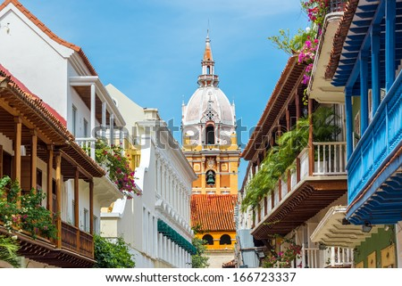 View of balconies leading to the stunning cathedral in Cartagena, Colombia - stock photo