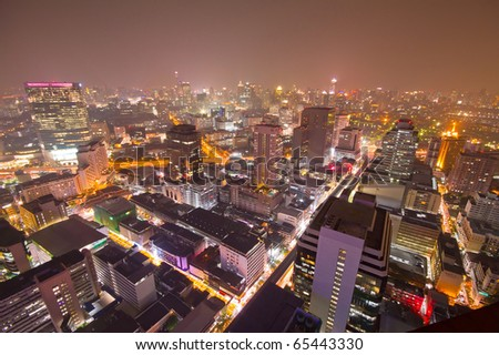 view of bangkok city at night from high building - stock photo