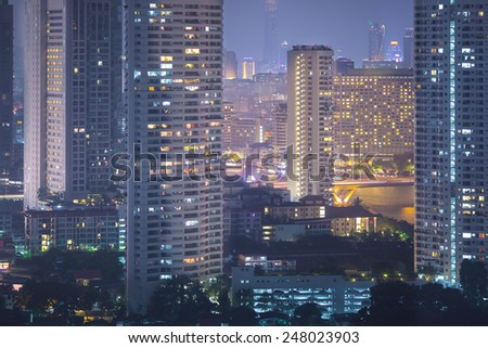 view of Bangkok city scape at nighttime - stock photo
