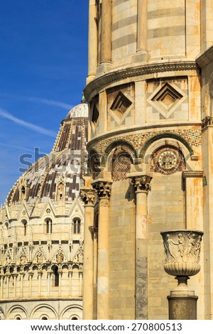 View of  Baptistery and Duomo, Piazza dei miracoli, Pisa, Italy - stock photo