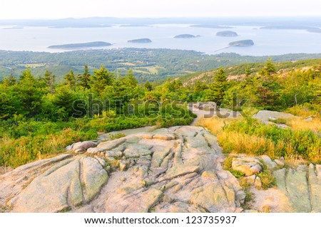view of Bar Harbor and The Porcupine Islands from Cadillac Mountain at Acadia National Park in Maine - stock photo