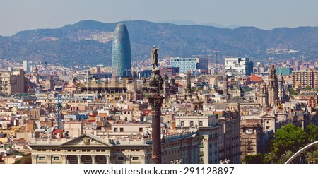 View of Barcelona city from port side. Catalonia, Spain - stock photo