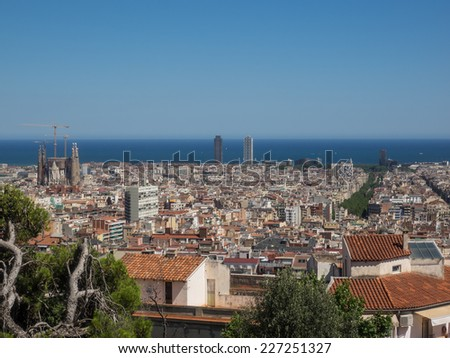 View of Barcelona from El Carmel hill where Parc Guell is located. - stock photo