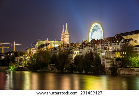 View of Basel embankment with the Cathedral - Switzerland - stock photo
