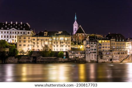 View of Basel old city - Switzerland - stock photo