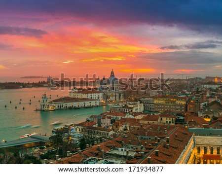 View of Basilica di Santa Maria della Salute at night under very dramatic sunset,Venice, Italy - stock photo