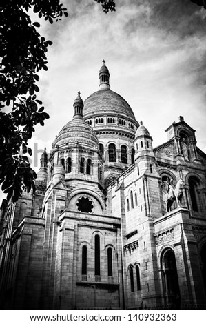 View of Basilica of the Sacred Heart of Paris with cloudy sky in background (Paris, France, Europe). - stock photo