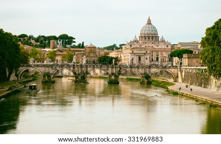 view of Basilica St Peter and river Tiber in Rome. Italy - stock photo