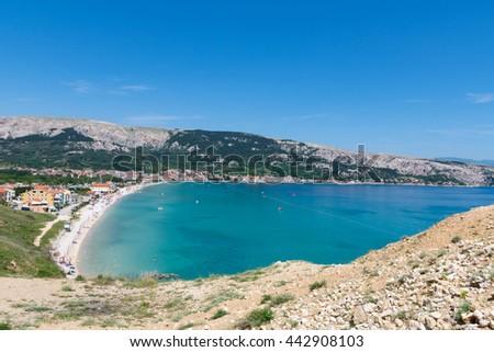View of Baska bay, island Krk, Croatia / Beautiful summer seascape at Adriatic sea / Mediterranean seascape /  Summer in Baska, Krk, Croatia / Turquoise sea water - stock photo