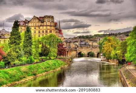 View of Bath town over the River Avon - England - stock photo