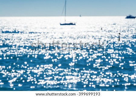 View of beautiful landscape: sea and sunny sky, Promenade de la Croisette, the Croisette and Port Le Vieux of Cannes, France Cote d'Azur - stock photo