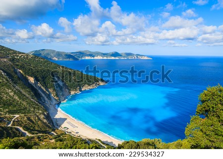 View of beautiful Myrtos bay and idyllic beach on Kefalonia island, Greece  - stock photo