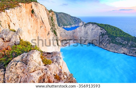 View of beautiful Navagio Beach - shipwreck beach on Zakynthos Island in Greece - stock photo