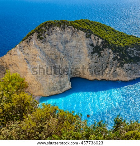 View of beautiful Navagio beach with shipwreck and rocks on Zante. Photo from Zakynthos Island, Greece. - stock photo