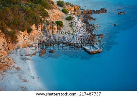 View of beautiful sea of Villasimius, in Sardinia, Italy - stock photo