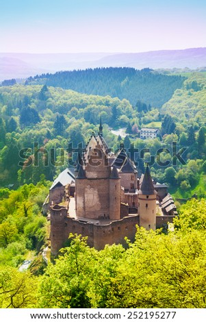 View of beautiful Vianden castle, Luxembourg  - stock photo