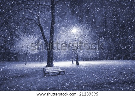 View of bench and shining lantern through snowing. Blue tone. Snow at night shot. - stock photo