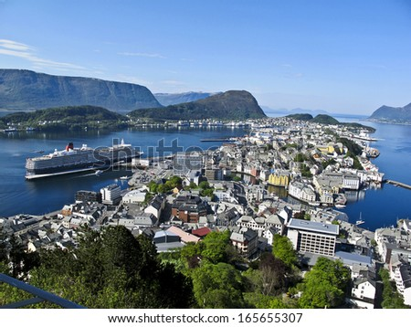 View of Bergen from Mount Floyen, Norway,      - stock photo