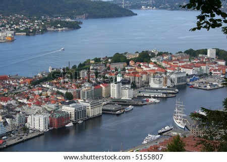 view of Bergen in Norway from the top of Mount Fløyen. - stock photo
