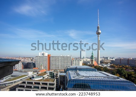 view of berlin dorm , Berlin Skyline , Germany - stock photo