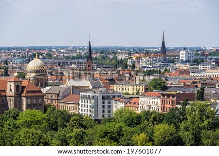 View of Berlin in Germany. - stock photo