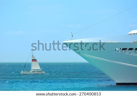 view of big and small boat - stock photo