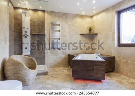 View of big bathtub in a bathroom - stock photo