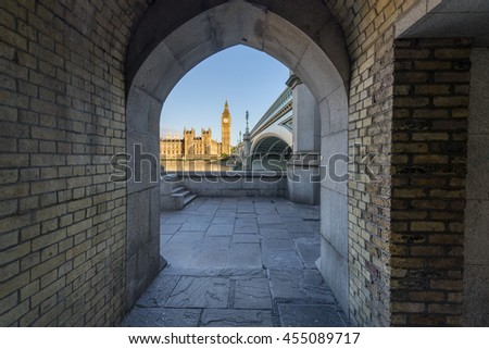 View of Big Ben through the pedestrian tunnel at sunny day, London - stock photo