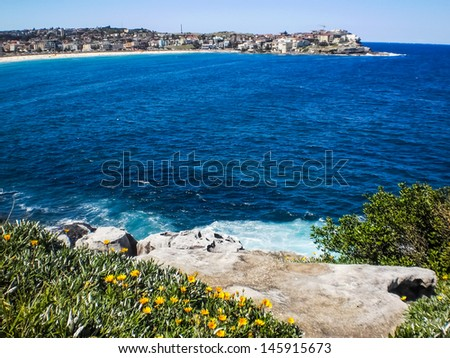 View of Bondi beach,Sydney from the hill. - stock photo