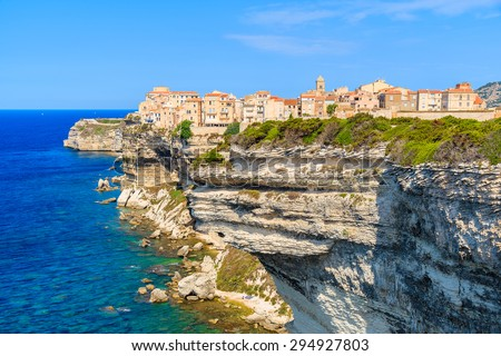 View of Bonifacio old town built on top of cliff rocks, Corsica island, France - stock photo