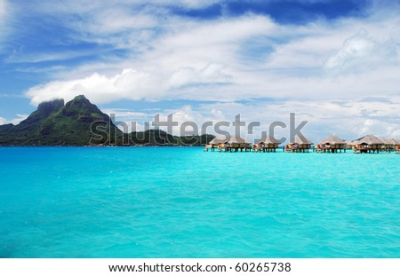 view of bora bora and otemanu mountain - stock photo
