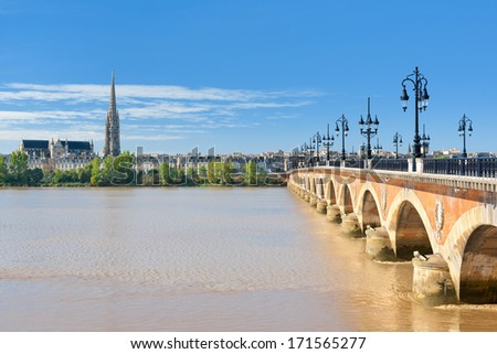 View of Bordeaux at a sunny summer day - stock photo