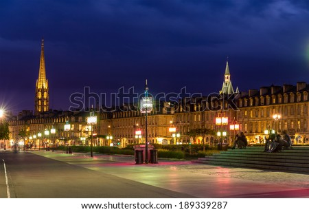 View of Bordeaux in the evening - France, Aquitaine - stock photo