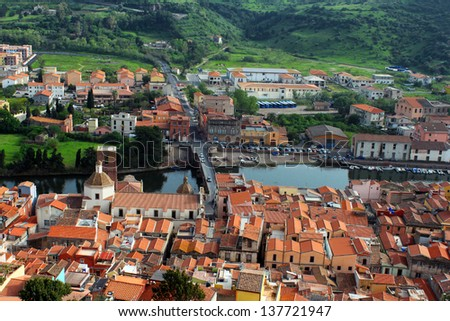 View of Bosa from the Serravalle's Castle, Sardinia, Italy - stock photo
