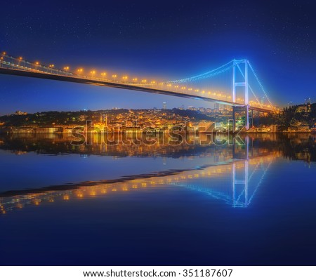 View of Bosphorus bridge at night Istanbul, Turkey - stock photo