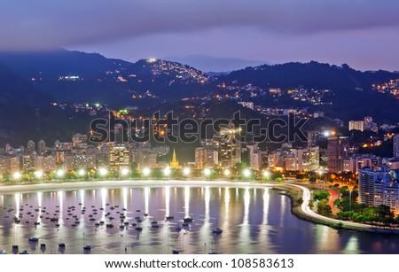 view of Botafogo and Guanabara bay in Rio de Janeiro - stock photo