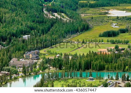 View of Bow river valley in the Banff town center. Observation point at a distance. Canadian Rocky Mountains.Banff national park. Alberta, Canada.  - stock photo