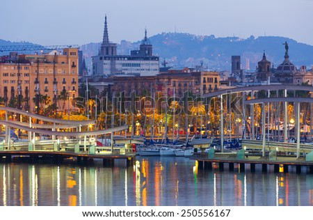 view of bridge at Port Vell during dawn. Barcelona, Spain - stock photo
