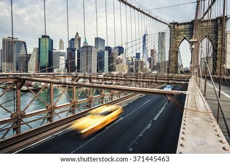 View of Brooklyn Bridge in New York City. - stock photo