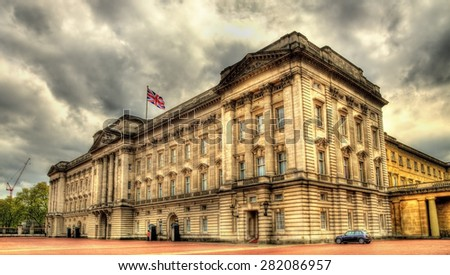 View of Buckingham Palace in London - Great Britain - stock photo