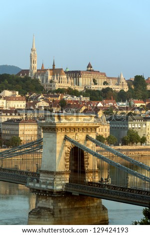 View of Buda and Chain bridge in early morning, Budapest - stock photo