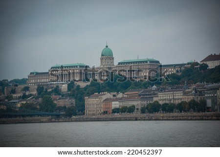 view of buda castle in budapest from danube river  - stock photo