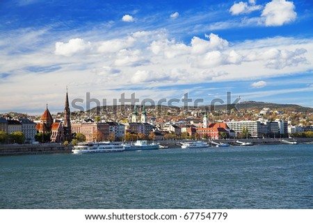 View of Buda from the bridge over the Danube in Budapest, Hungary - stock photo