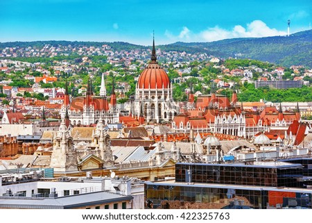 View of Budapest and Parliament from Bell Tower of St. Stephen Basilica. - stock photo