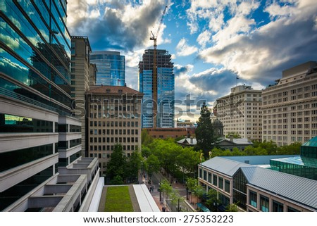 View of buildings near Pioneer Place, in Portland, Oregon. - stock photo