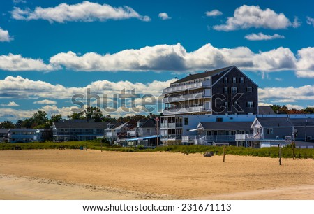 View of buildings on the beach in Old Orchard Beach, Maine. - stock photo