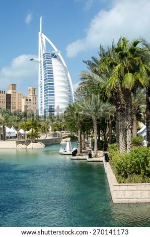 View of Burj Al Arab hotel from Medinat Juimerah, Dubai - stock photo