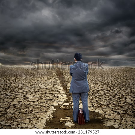 View of Business man in the desert - stock photo