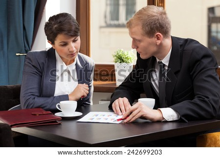View of business meeting during coffee time - stock photo
