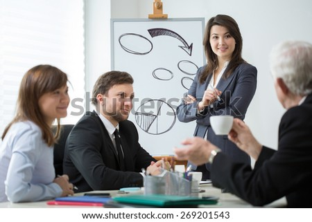 View of business partners analyzing company situation - stock photo